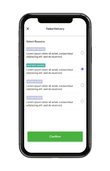 Grocery delivery app- driver app reattempting delivery management