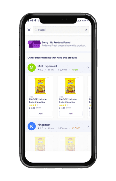 Multistore grocery shopping software- elastic search