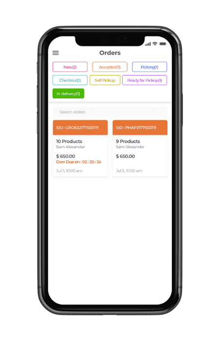 multistore grocery shopping software- pickup & delivery